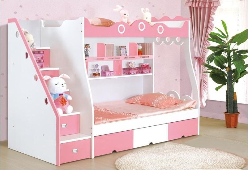Розовая кровать-чердак для двух девочек