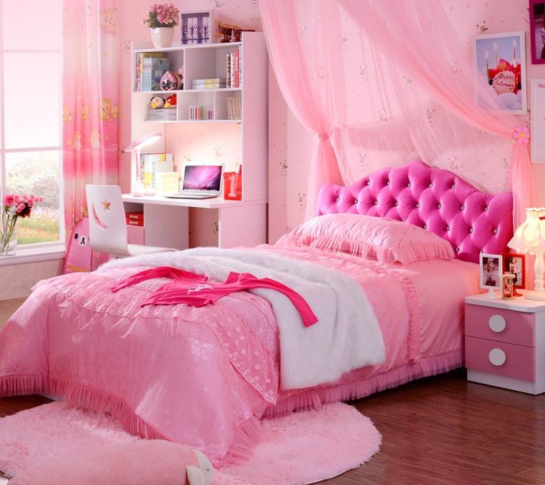 Розовая подростковая кровать