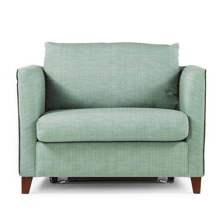 Серо-зеленая мягкая мебель для спальни