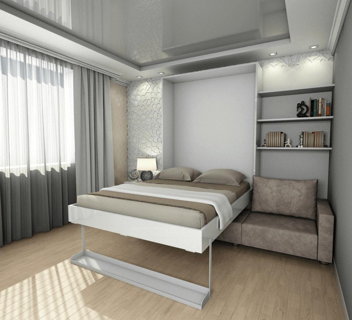 Серые предметы интерьера в комнате для сна