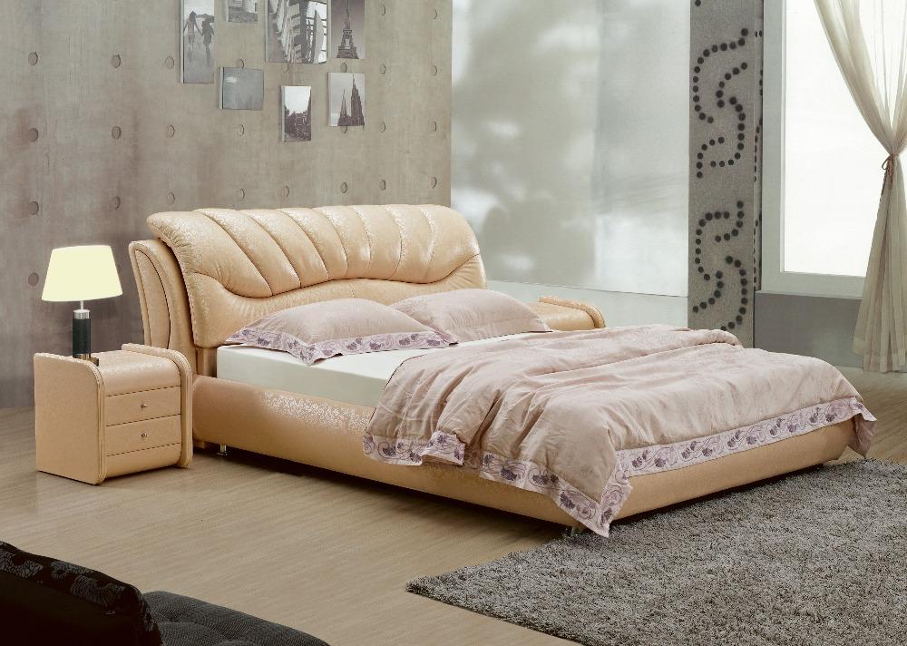 Современная бежевая кровать