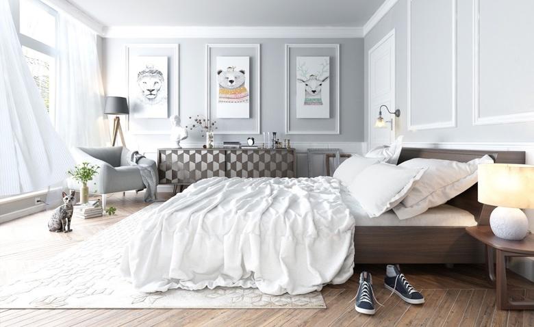 Спальня в скандинавском стиле выглядит эффектно