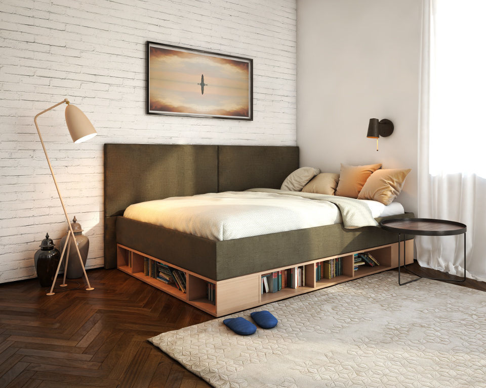 Удобная кровать с книжными полками