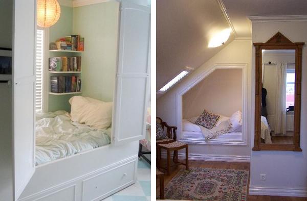 Уютное размещение кровати