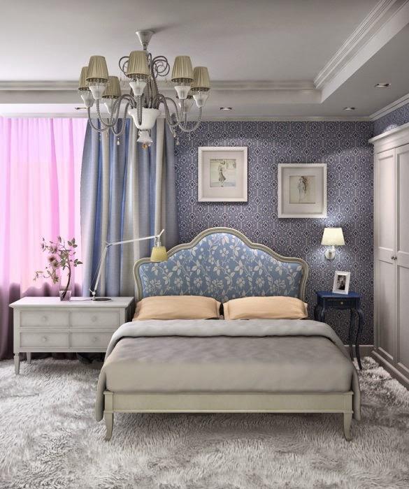 В голубых стенах великолепно будет смотреться изящная белая мебель с резными ножками