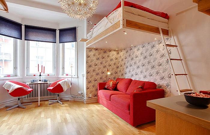 Вариант обустройства небольшой спальни