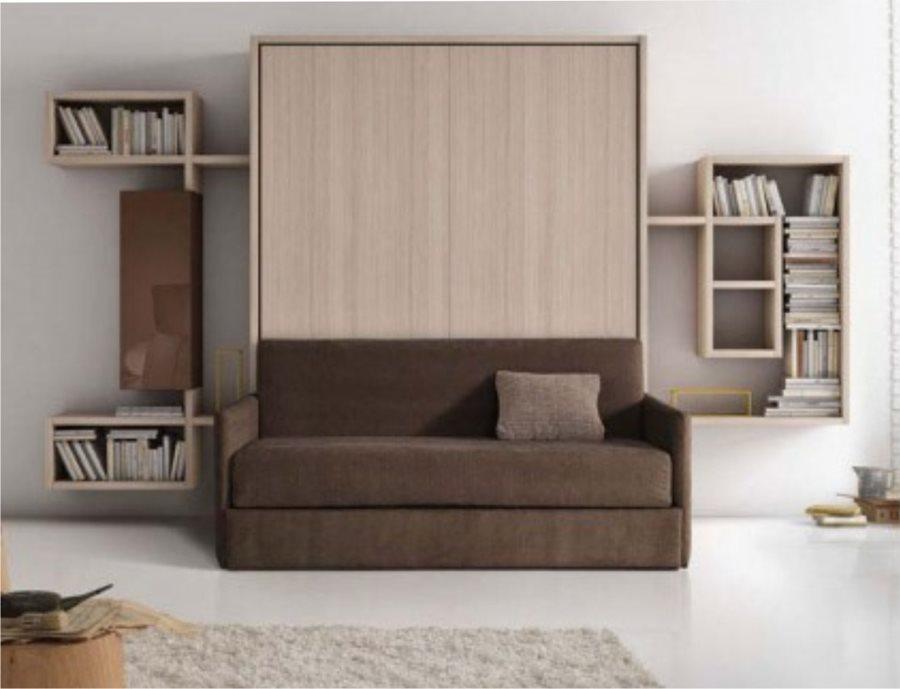 Вертикальная двуспальная кровать с диваном