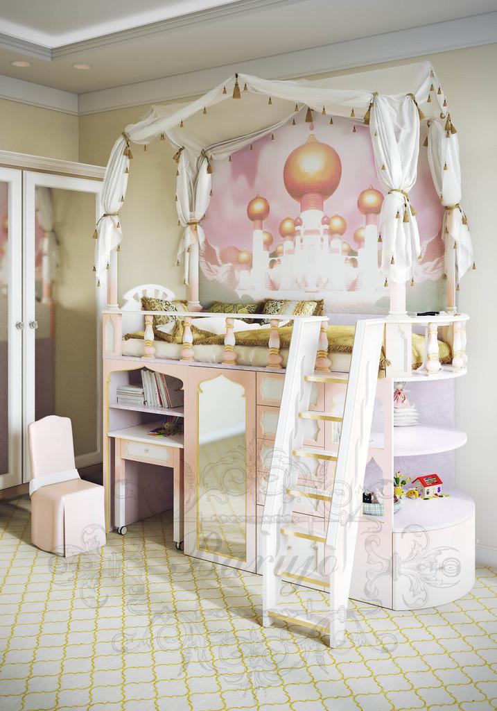 Высокая детская кровать с двумя ярусами