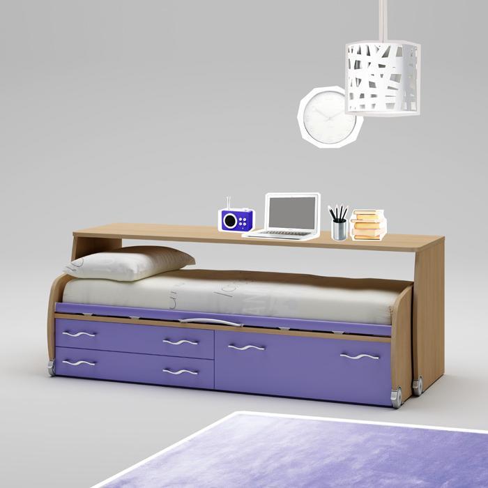 Высокая детская кровать с ящиками и письменным столом