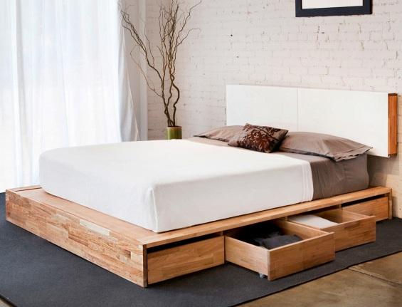 Высокая кровать с ящиками для хранения