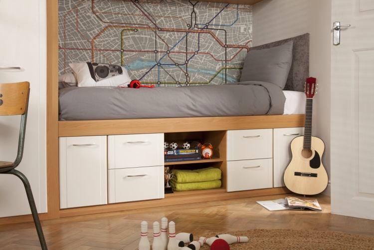 Высокая односпальная кровать с практичными ящиками