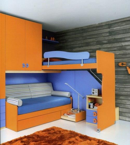 детские двухъярусные кровати с диваном внизу фото