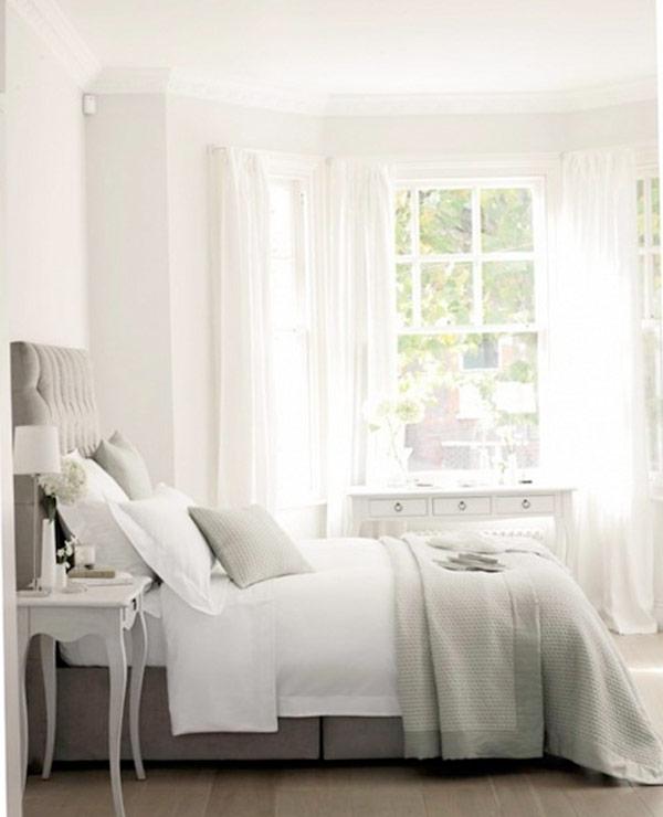 Белые оттенки дизайна спальни