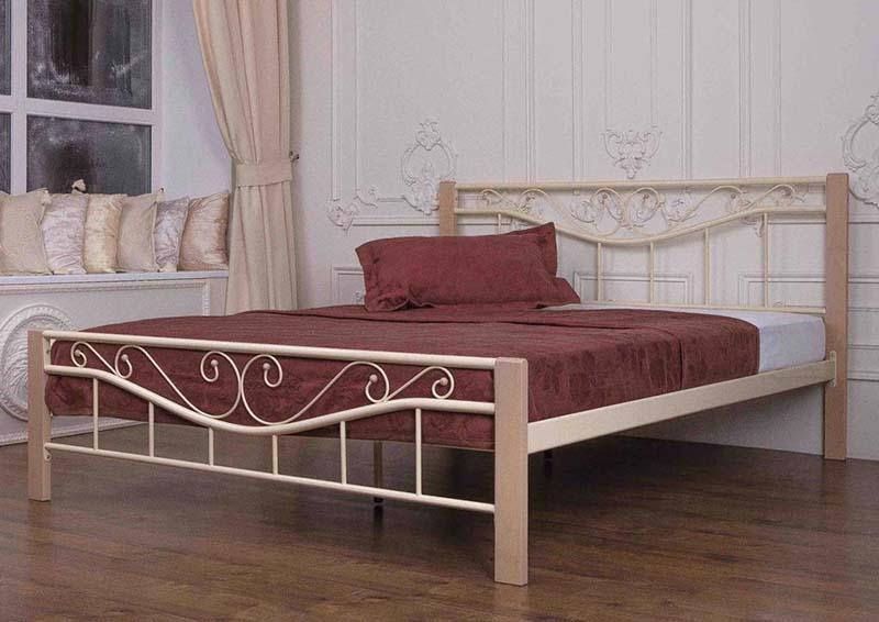 Бежевая модель двуспальной кровати