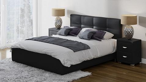 Черные кровати из экокожи