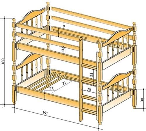 Чертеж для двухъярусной кровати