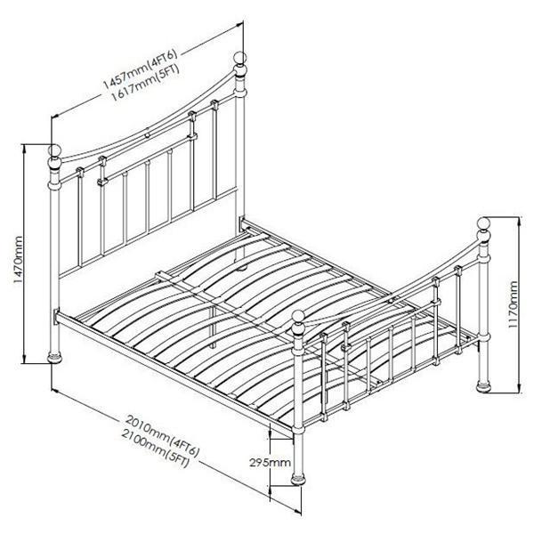 Чертеж двуспальной кровати с размерами
