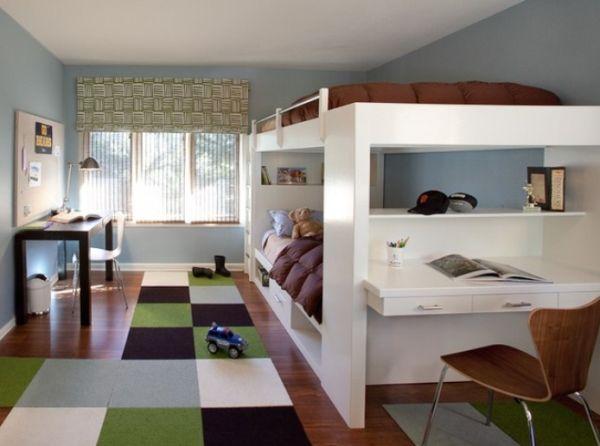 Детская для двух подростков с двухъярусной кроватью и цветным ковром