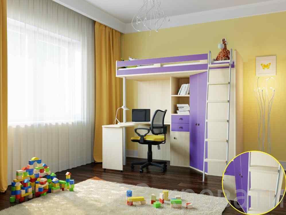 Детская кровать-чердак фиолетового цвета
