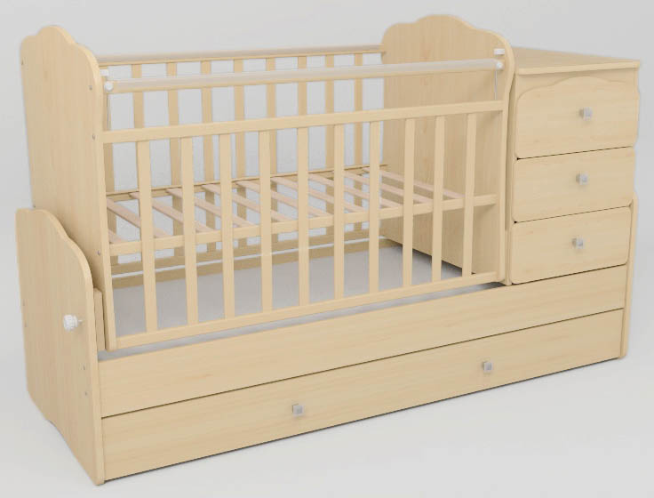 Детская кроватка с маятниковым механизмом
