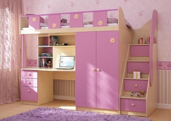 Детская мебель розового цвета