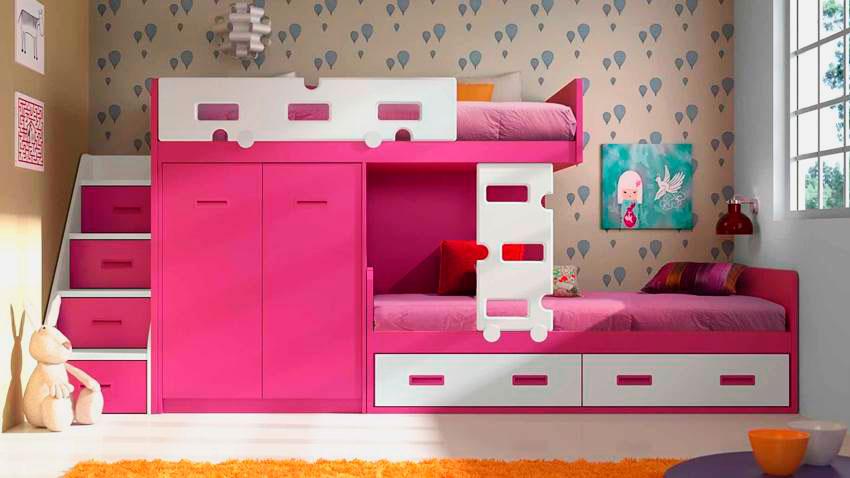 Детская стенка для девочек со встроенной двухъярусной кроватью