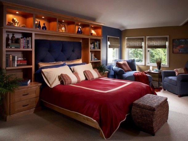 Дизайн спальни с акцентом у изголовья