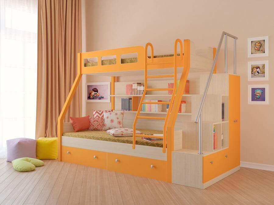 Двухъярусная кровать для детей, которые любят читать перед сном