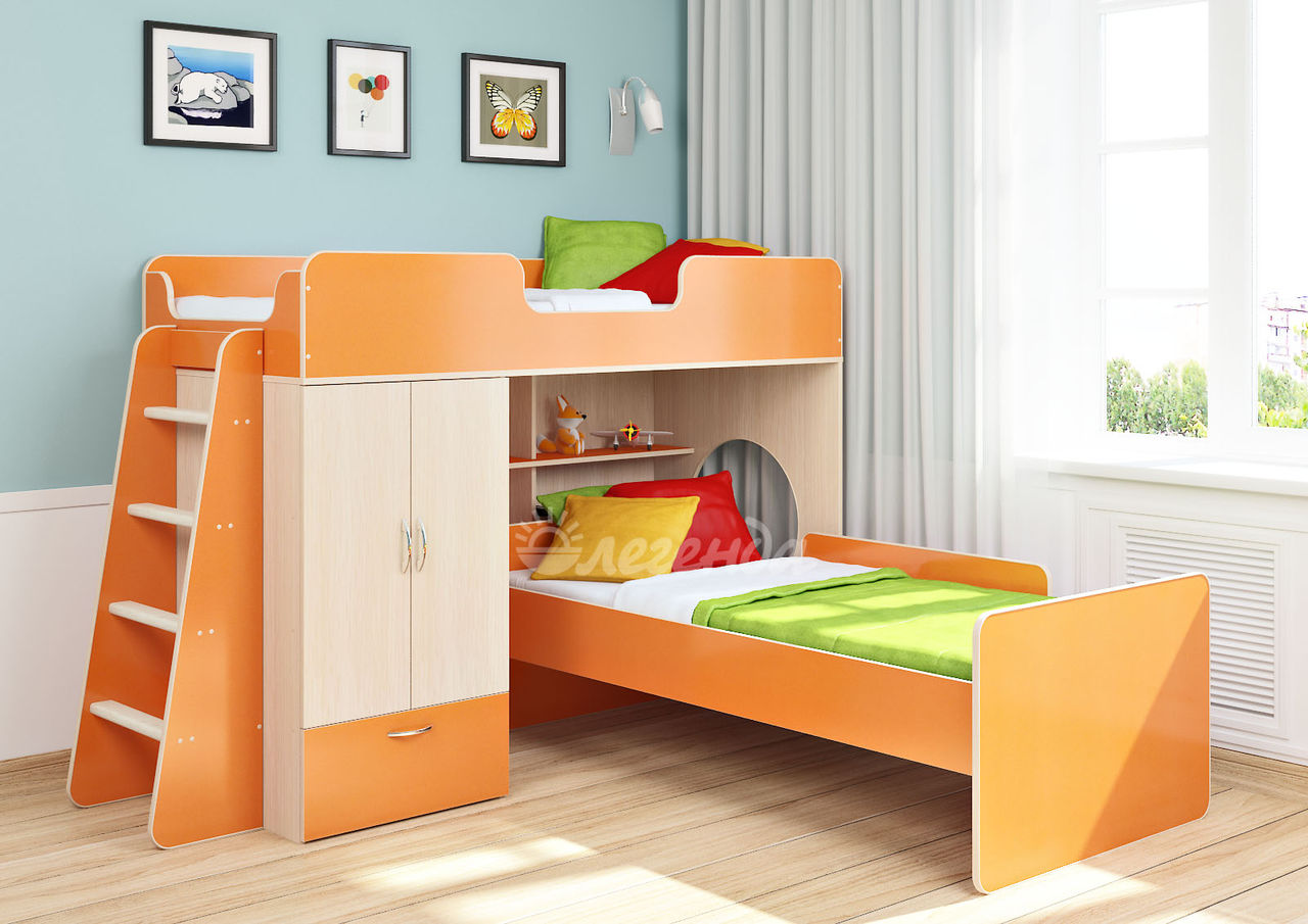 Двухъярусная кроват оранжевого цвета