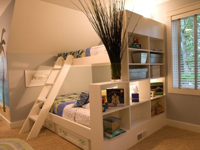 Двухъярусная кровать с подсветкой и встроенными ящиками
