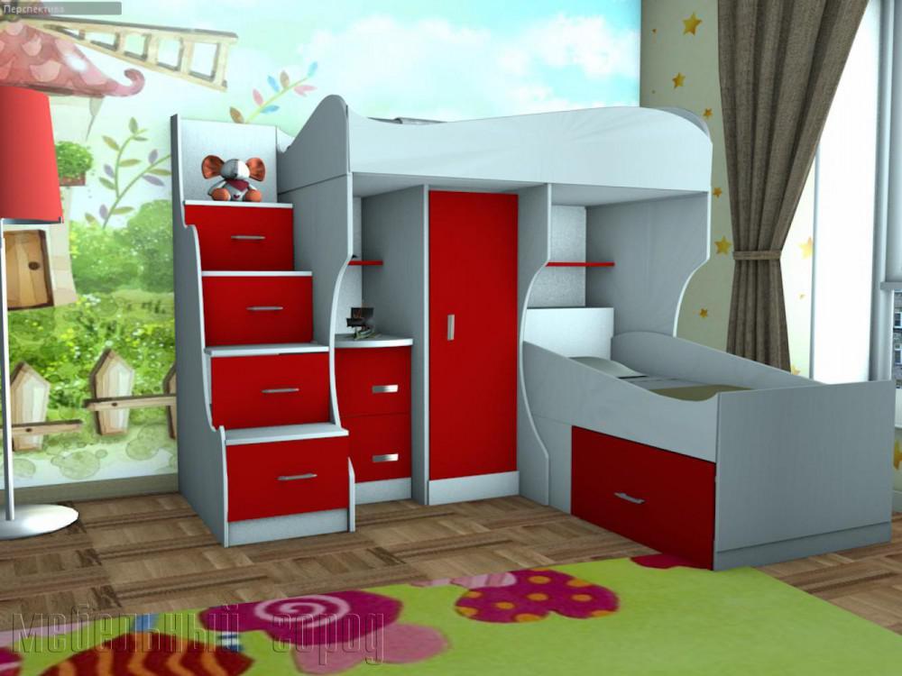 Двухъярусная кровать угловая со шкафом