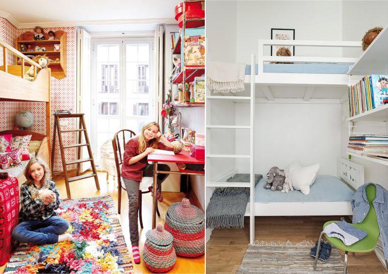 Двухъярусная кровать в интерьере узкой детской комнаты