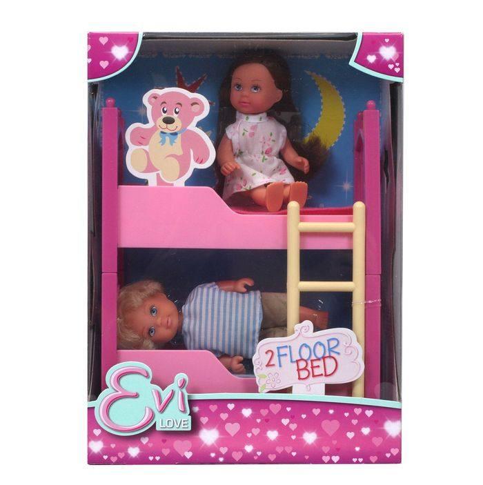 Двухъярусная кроватка для кукол мальчика и девочки
