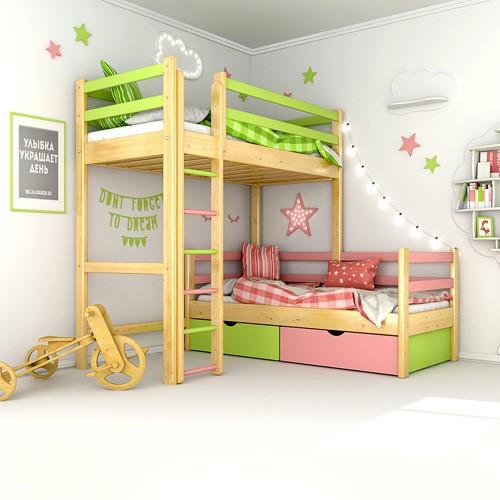 Двухъярусные угловые деревянные модели кроватей