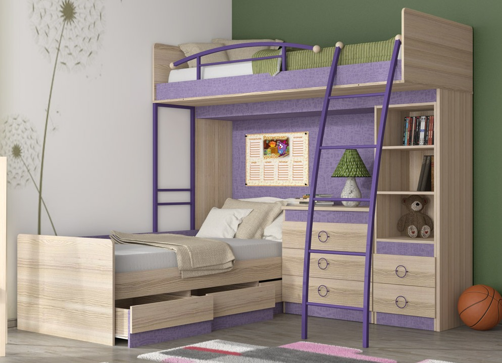 Фиолетовые предметы мебели для сна
