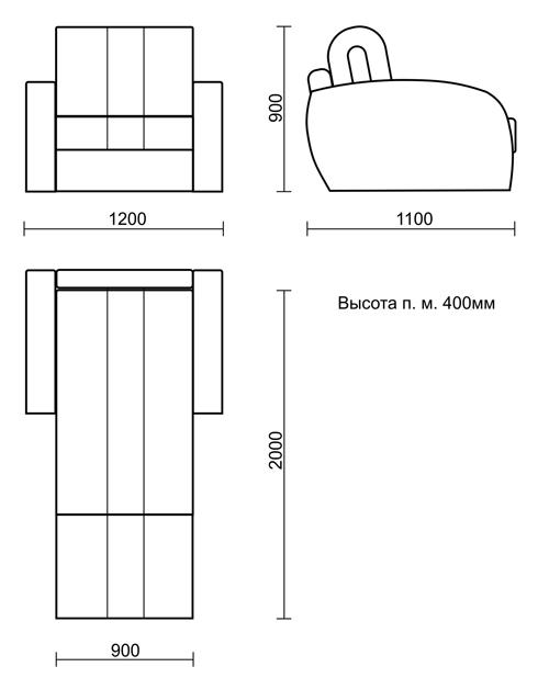 Габариты кровати-кресла