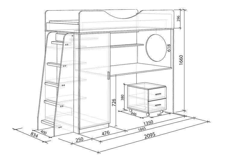 Габариты современной двухъярусной мебели