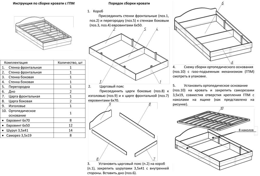 Как собрать ортопедическую кровать с подъемным механизмом