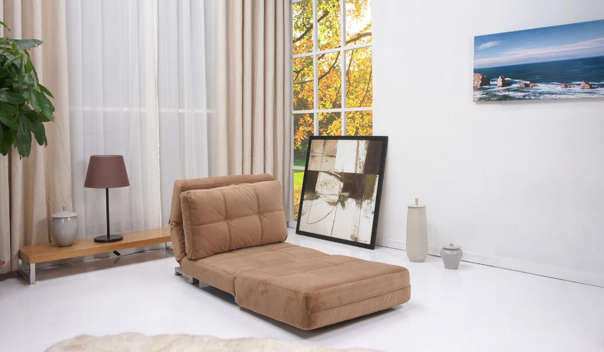 Коричневое кресло без подлокотников для сна