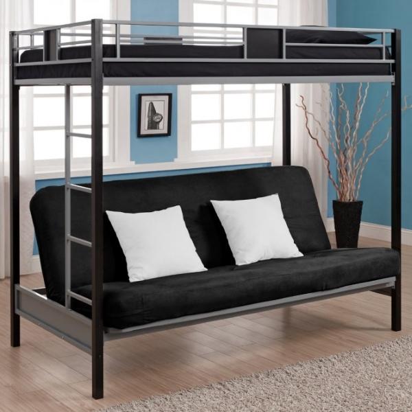 Кованая кровать чердак с лестницей