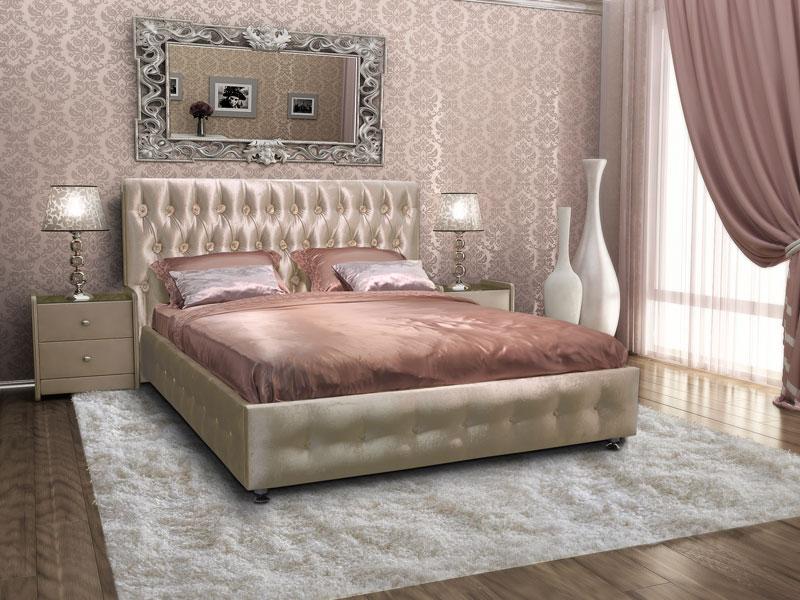 Красивая кожаная кровать для спальни