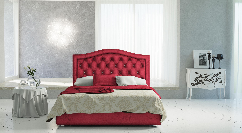 Красивая кровать красного цвета