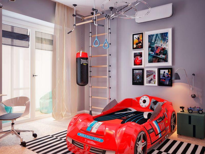 Красная кровать машинка