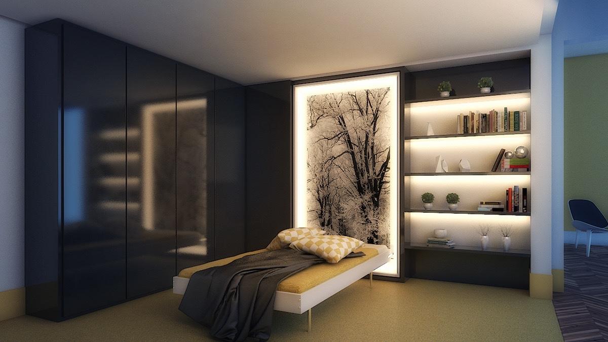 Кремовая кровать с подсветкой изголовья