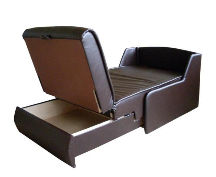 Кресло кровать из кожзама с ящиком