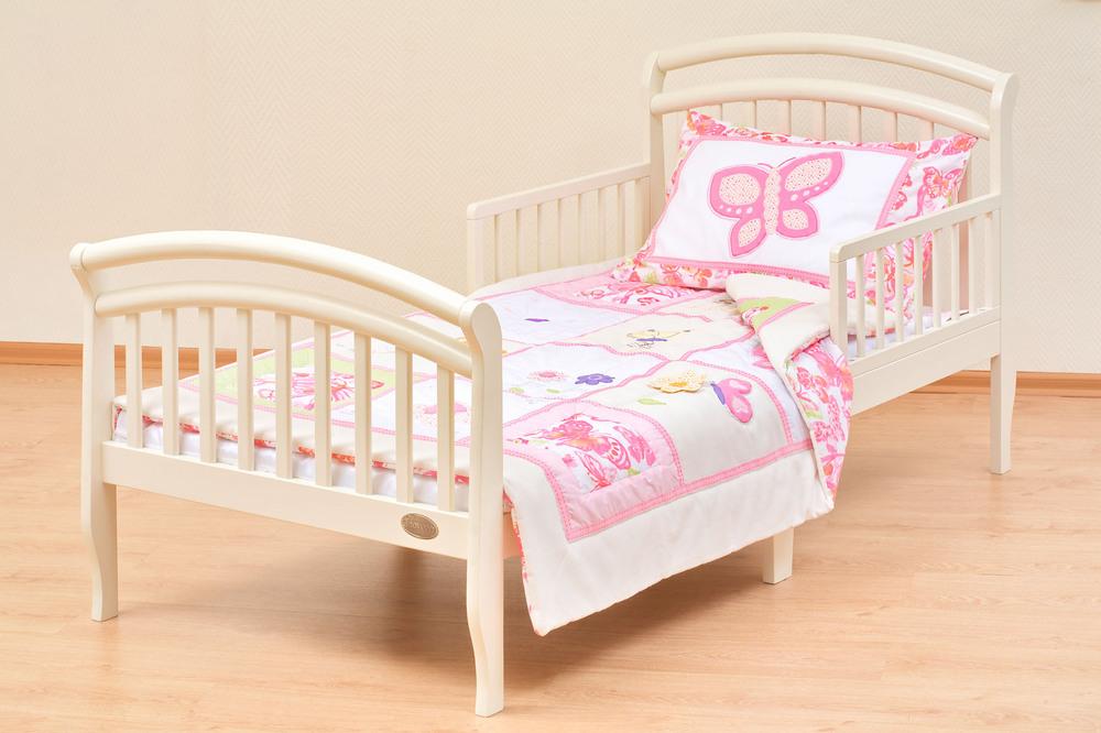 Кровать белая с бортиками от трех лет для девочек