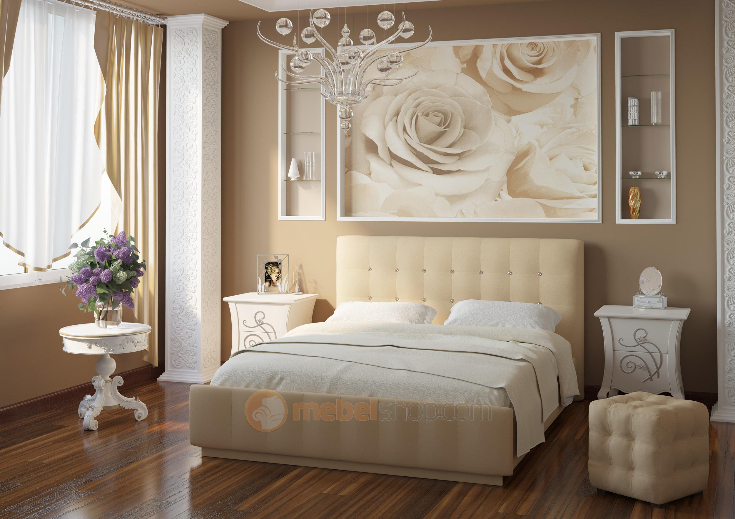 Кровать бежевого цвета