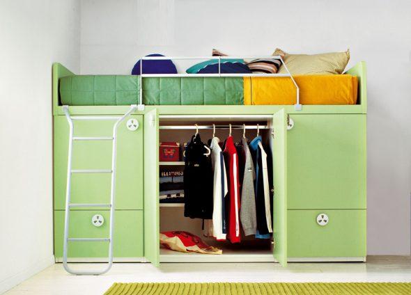 Кровать-чердак детская со шкафом внизу
