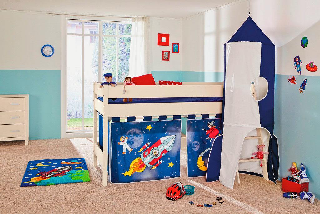 Кровать-чердак для мальчиков стилизованная под космическую ракету с игровой зоной внизу