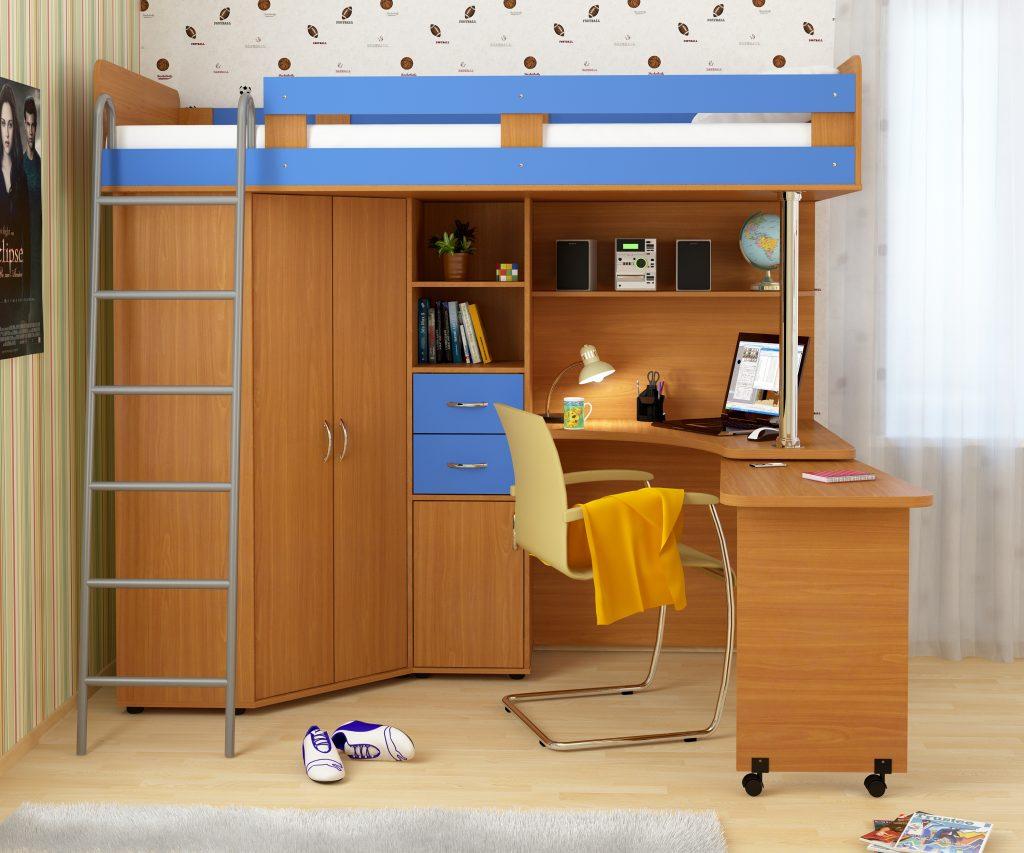 Кровать-чердак для подростка в доме
